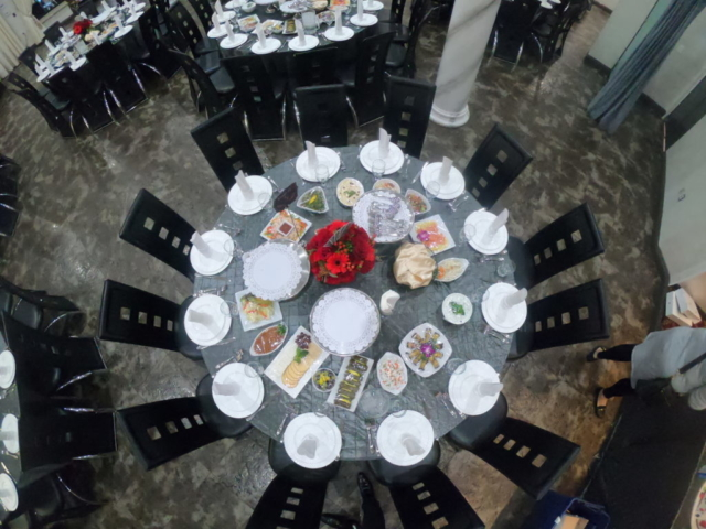gray table set up at Pierre Garden Restaurant and event venue