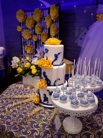 A beautiful cake set up at Pierre Garden Restaurant and event venue